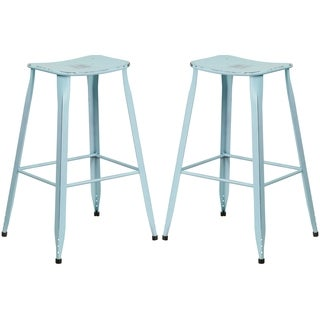 Distressed Blue Galvanized Metal 30-inch Bar stool