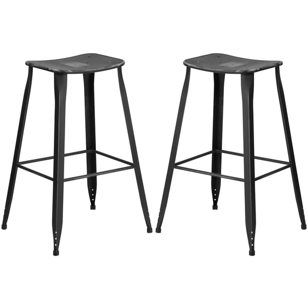Distressed Black Galvanized Metal 30-inch Bar stool