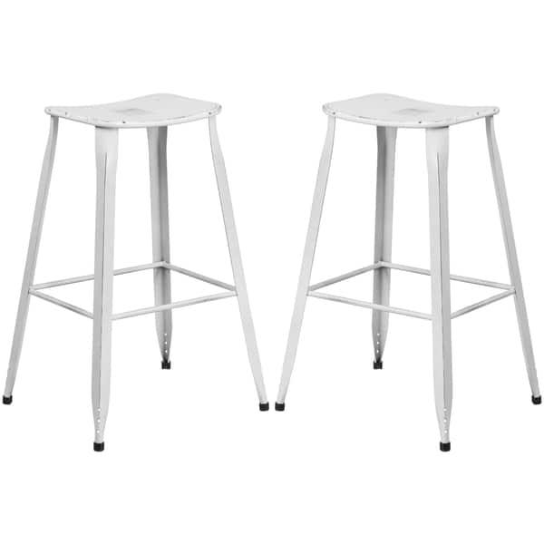 Miraculous Distressed White Galvanized Metal 30 Inch Bar Stool Creativecarmelina Interior Chair Design Creativecarmelinacom