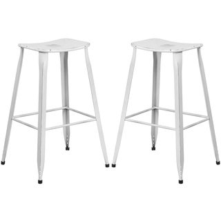 Distressed White Galvanized Metal 30-inch Bar stool