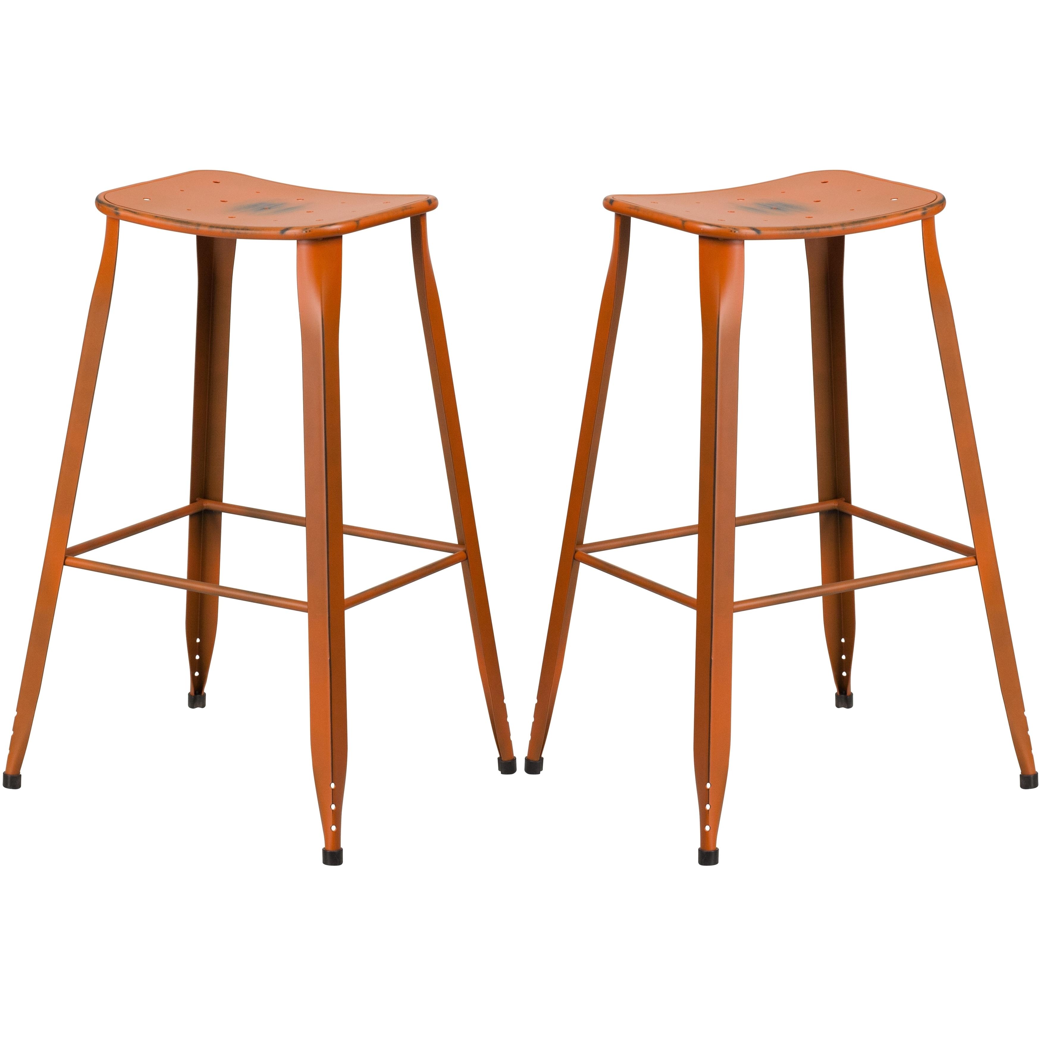 Excellent Distressed Orange Galvanized Metal 30 Inch Bar Stool Dailytribune Chair Design For Home Dailytribuneorg