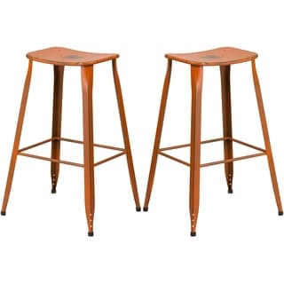 Distressed Orange Galvanized Metal 30-inch Bar stool
