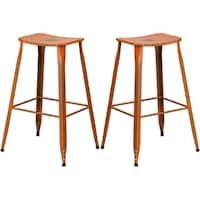 Distressed Orange Galvanized Metal 30-inch Bar stool