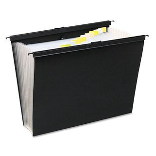 Wilson Jones Slide-Bar Expanding Pocket File 13 Pockets Poly Letter Black