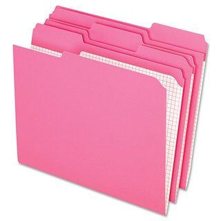 Pendaflex Reinforced Top Tab File Folders 1/3 Cut Letter Pink (Box of 100)
