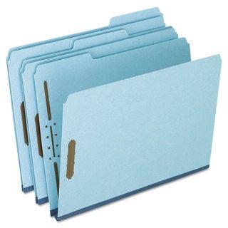Pendaflex Pressboard Folders 2 Fasteners 1-inch Expansion 1/3 Tab Letter Blue (Box of 25)