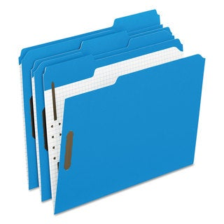 Pendaflex Colored Folders With Embossed Fasteners 1/3 Cut Letter Blue/Grid Interior