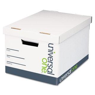 Universal One Lift-Off Lid File Storage Box Legal Fiberboard White (Box of 12)