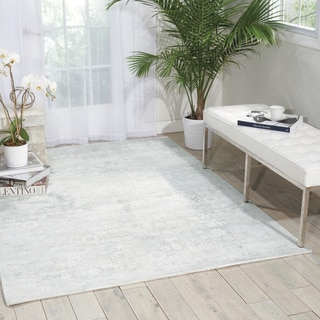 kathy ireland Desert Skies Silver/Green Area Rug by Nourison (5'3 x 7'5)