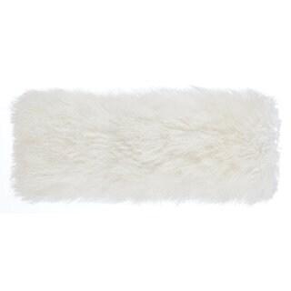 White Tibetan Sheep Long Throw Pillow