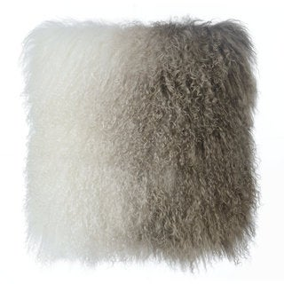 White to Brown Tibetan Sheep Throw Pillow