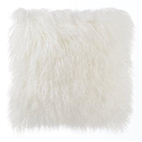 White Tibetan Sheep 16-inch x 16-inch Throw Pillow