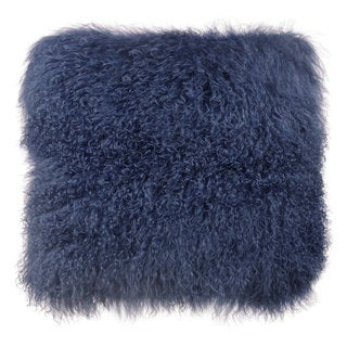 Moody Collection Blue Tibetan Sheep Fur Large Throw Pillow