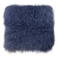 Moody Collection Blue Tibetan Sheep Fur Large Throw Pillow