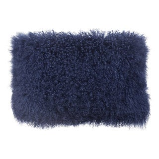 Blue Tibetan Sheep Fur Throw Pillow