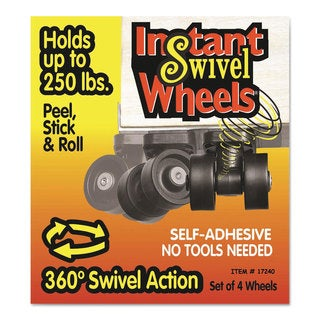 Master Caster Roll-Arounds Instant Swivel Wheels Self-Adhesive Black 4/Set