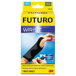 FUTURO Adjustable Reversible Splint Wrist Brace Fits Wrists 5 1/2 inches- 8 1/2 inches Black/Grey