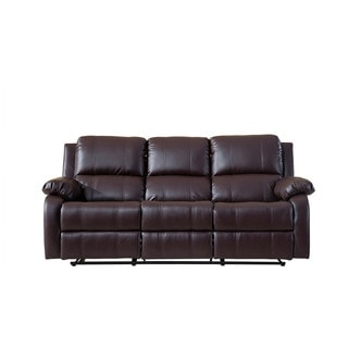 Classic Bonded Leather Oversize Double Recliner Sofa