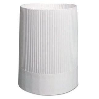 Royal Stirling Fluted Chef's Hats Paper White Adjustable 10 inches Tall 12/Carton