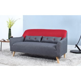 Mid-Century Modern Two Tone Linen Fabric Sofa