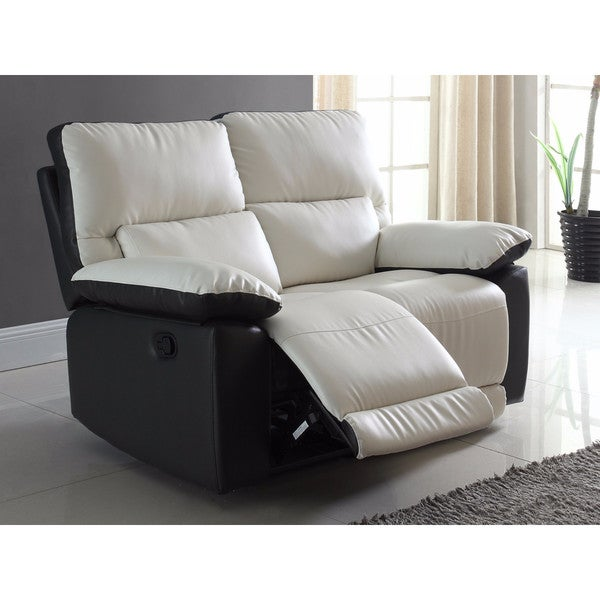Modern Two Tone Bonded Leather Oversize Recliner Loveseat