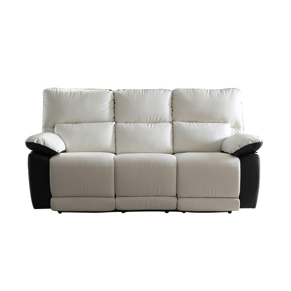 Modern Two Tone Bonded Leather Oversize Recliner Sofa