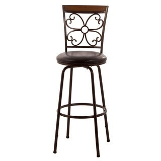 Hillsdale Furniture Garrison Swivel Counter/Bar Stool With Nested Leg, Copper Finish With Dark Brown Faux Leather