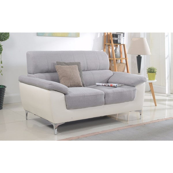 Modern Two Tone Fabric And Bonded Leather Living Room