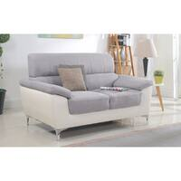 Modern Two Tone Fabric and Bonded Leather Living Room Loveseat
