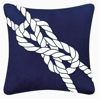 Blue Cotton Blend Nautical Knot Throw Pillow