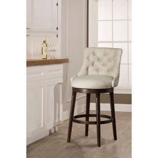 Hillsdale Furniture Halbrooke Chocolate Wood Finish and Cream Fabric Swivel Bar Stool