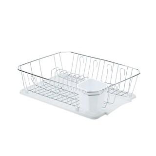 Kitchen Details Chrome 3 Piece Set Dish Rack in White