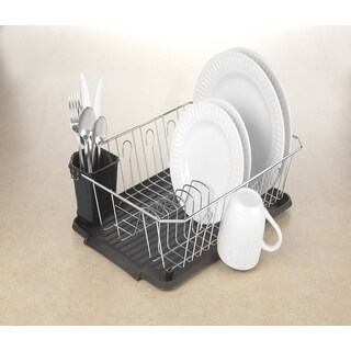 Simply Kitchen Details Black and Chrome Iron 3-piece Dish Rack Set