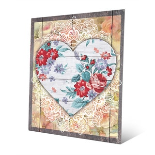 'Red Floral Hearts' Aluminum Wall Art Print