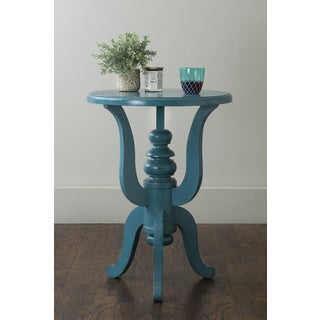 East At Main's Yetter Turquoise Round Mahogany Accent Table