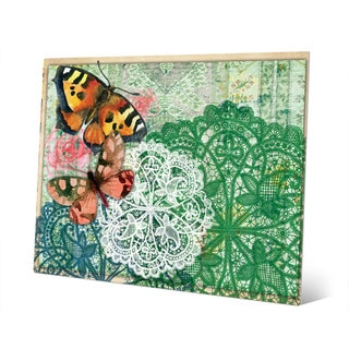 Aqua Doilies Butterflies Metal Wall Art Print