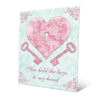 'Keys to My Heart' Pink Metal Wall Art Print