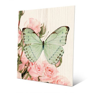 'Butterfly and Roses Garden Party' Metal Wall Art