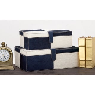 Urban Designs Blue and White Leather Handmade Keepsake Boxes (2-piece Set)