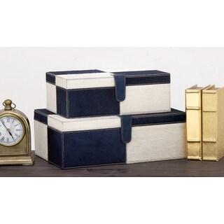 Urban Designs Blue and White Leather Handmade Keepsake Boxes (2-piece Set)