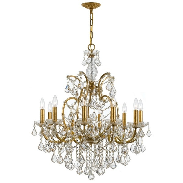 Crystorama Filmore Collection 10-light Antique Gold/Swarovski Spectra Crystal Chandelier