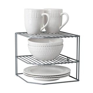 Simply Kitchen Details Grey Iron Two-tier Expanding Kitchen Shelf Organizer