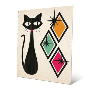 'Retro Cat with Diamonds' Green Metal Wall Art
