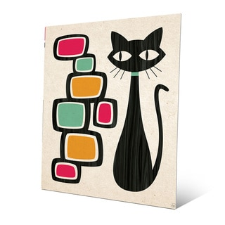 'Retro Cat with Bubbles' Orange Metal Wall Art
