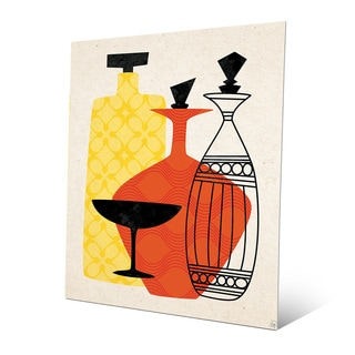 Retro Red and Yellow Bottles and Glass Red Metal Wall Art Print