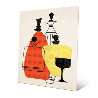 'Retro Bottles' Red Yellow Metal Wall Art Print