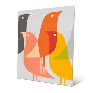 'Retro Bird Caravan' Grapefruit Metal Wall Art
