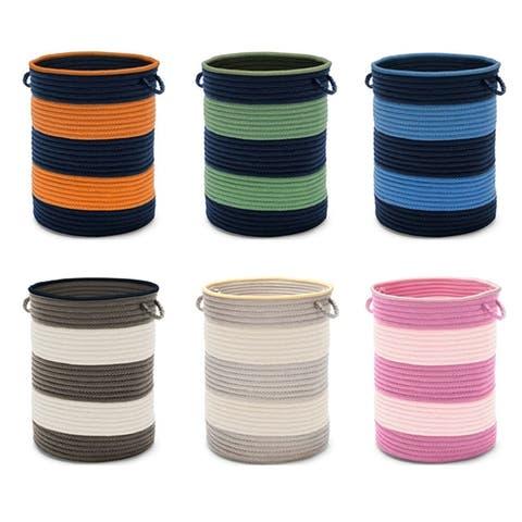 Rugby Stripe Hamper w/Handles 16x16x20