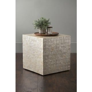 East At Main's Thaxton Off-White Square Engineered Wood and Capiz Accent Table