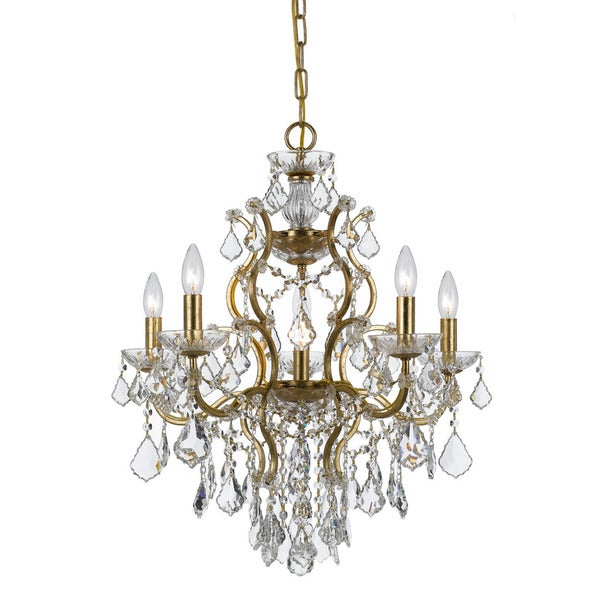 Crystorama Ore Collection 6 Light Antique Gold Swarovski Strass Crystal Chandelier
